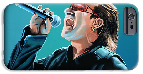 U2 Paintings iPhone Cases - Bono of U2 iPhone Case by Paul  Meijering