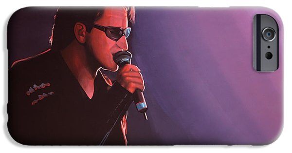 U2 Paintings iPhone Cases - Bono U2 iPhone Case by Paul Meijering