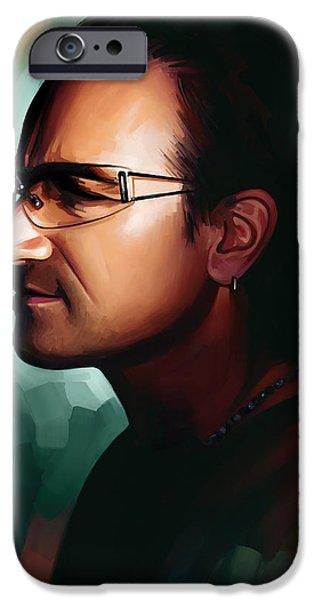 U2 iPhone Cases - Bono U2 Artwork 1 iPhone Case by Sheraz A