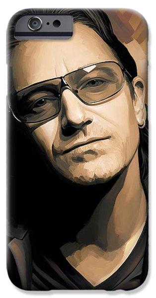 Singer Mixed Media iPhone Cases - Bono U2 Artwork 2 iPhone Case by Sheraz A
