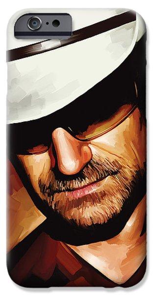 U2 iPhone Cases - Bono U2 Artwork 3 iPhone Case by Sheraz A