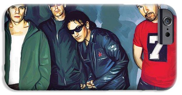 U2 iPhone Cases - Bono U2 Artwork 5 iPhone Case by Sheraz A