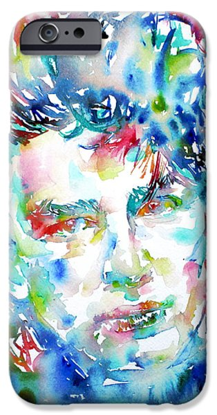 U2 Paintings iPhone Cases - Bono Watercolor Portrait.1 iPhone Case by Fabrizio Cassetta