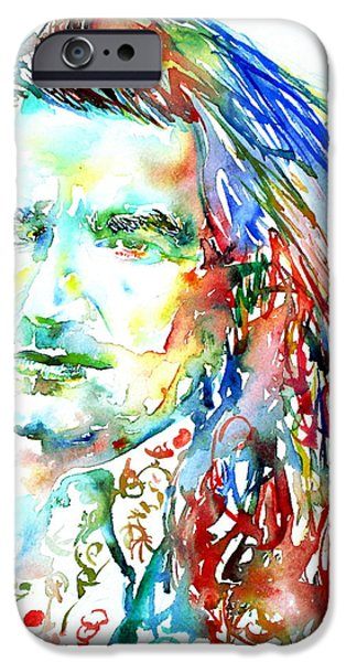 U2 Paintings iPhone Cases - Bono Watercolor Portrait.2 iPhone Case by Fabrizio Cassetta