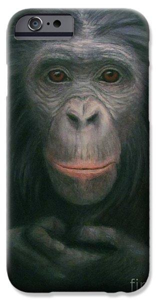 War Pastels iPhone Cases - Bonobo iPhone Case by Rebekah Sisk