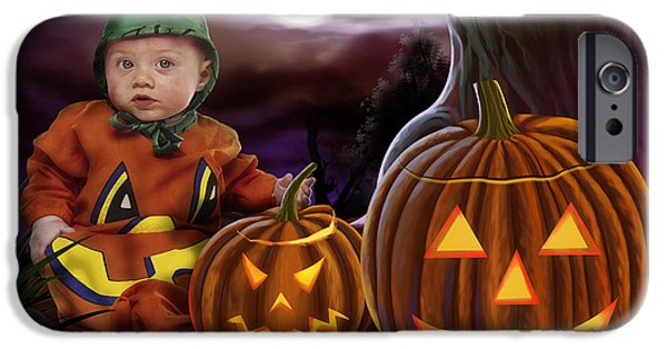 Tree Roots Mixed Media iPhone Cases - Boo Baby Pumpkins iPhone Case by Bedros Awak