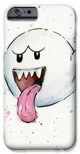Watercolor Mixed Media iPhone Cases - Boo Ghost Watercolor iPhone Case by Olga Shvartsur