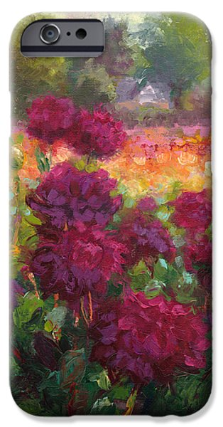Impressionism Reliefs iPhone Cases - Boogie Nites dahlia landscape oil painting  iPhone Case by Talya Johnson