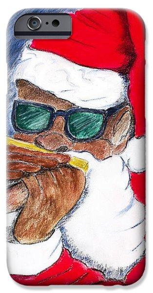 African-americans Pastels iPhone Cases - Boogie Woogie Santa iPhone Case by Charlie Black