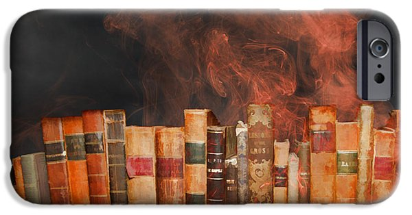 Censorship iPhone Cases - Book Burning Inspired by Fahrenheit 451 iPhone Case by John Haldane