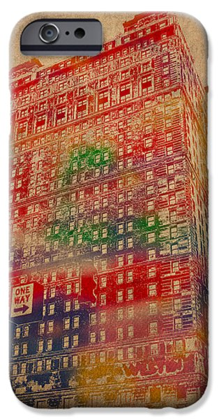 Book Cadillac Iconic Buildings of Detroit Watercolor on Worn Canvas Series Number 3 iPhone Case by Design Turnpike