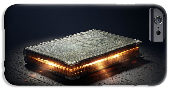 Glowing iPhone Cases - Book with magic powers iPhone Case by Johan Swanepoel