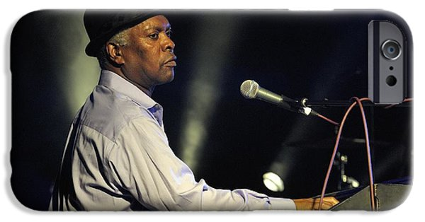 Booker T. iPhone Cases - Booker T Jones US blues singer plays Hammond B3 organ at Maryport Blues Festival 2010 England iPhone Case by David Lyons