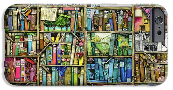 Framed iPhone Cases - Bookshelf iPhone Case by Colin Thompson