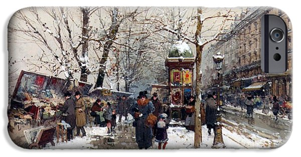 Nineteenth iPhone Cases - Bookstalls in Winter Paris iPhone Case by Eugene Galien-Laloue