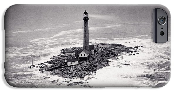 Night Lamp iPhone Cases - Boon Island Light Tower circa 1950 iPhone Case by Aged Pixel