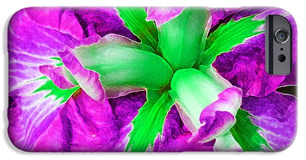 Floral Digital Art Digital Art iPhone Cases - Boothbay Iris in Magenta n Green iPhone Case by Bill Caldwell -        ABeautifulSky Photography
