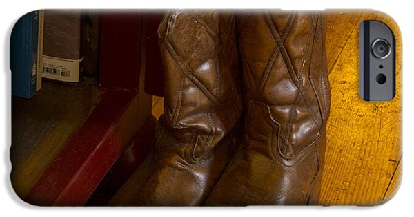 Bookcase iPhone Cases - Boots not made for walking iPhone Case by Jean Noren