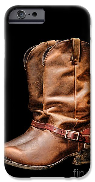 Rodeo iPhone Cases - Boots on Black iPhone Case by Olivier Le Queinec