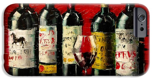 Table Wine iPhone Cases - Bordeaux Collection iPhone Case by Mona Edulesco