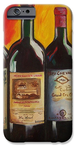Wine Art Paining iPhone Cases - Bordeaux iPhone Case by Sheri  Chakamian