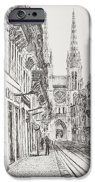 Architecture Drawings iPhone Cases - Bordeaux iPhone Case by Vincent Alexander Booth