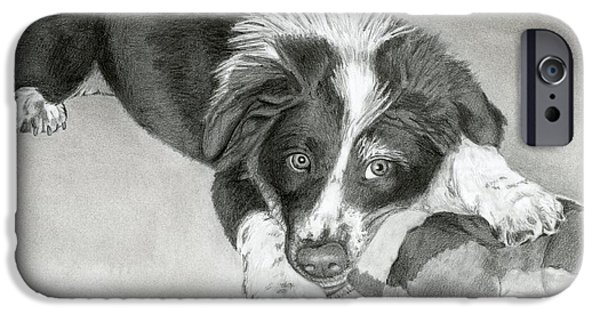Puppy Iphone Case iPhone Cases - Border Collie Puppy iPhone Case by Sarah Batalka