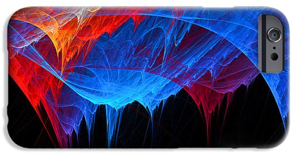 Red Abstract Digital Art iPhone Cases - Borealis - Blue and Red Abstract iPhone Case by Lourry Legarde