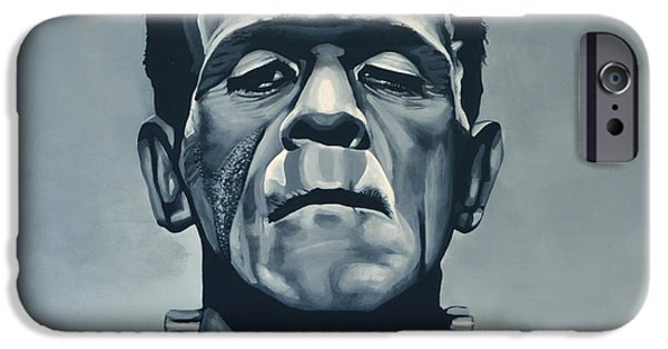 Bride iPhone Cases - Boris Karloff as Frankenstein  iPhone Case by Paul  Meijering