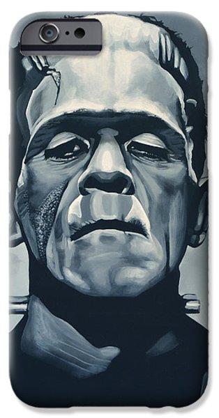 Christmas iPhone Cases - Boris Karloff as Frankenstein  iPhone Case by Paul Meijering