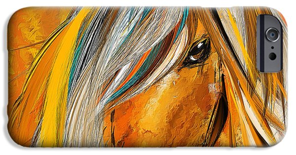 Kentucky Derby Paintings iPhone Cases - Born Free-Colorful Horse Paintings - Yellow Turquoise iPhone Case by Lourry Legarde