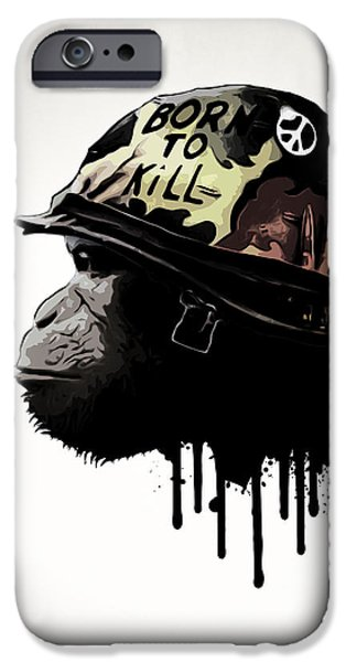 Monkey iPhone Cases - Born To Kill iPhone Case by Nicklas Gustafsson