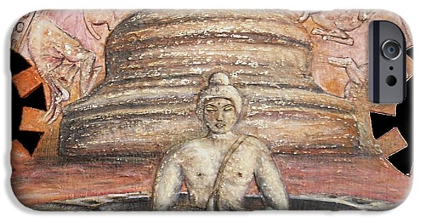 History Reliefs iPhone Cases - Borobudur iPhone Case by Anna Maria Guarnieri