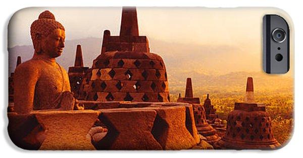 Buddhist iPhone Cases - Borobudur Buddhist Temple Java Indonesia iPhone Case by Panoramic Images