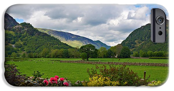 Grazing Sheep iPhone Cases - Borrowdale from a pretty garden in Rosthwaite iPhone Case by Louise Heusinkveld