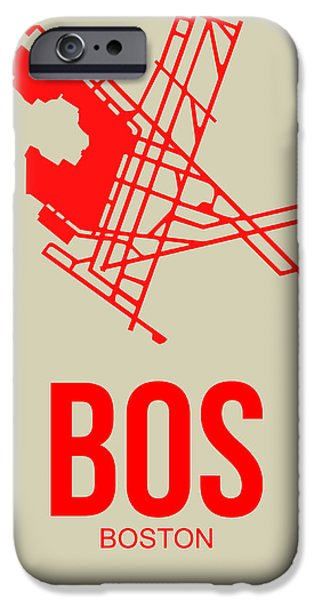 Boston Massachusetts iPhone Cases - BOS Boston Airport Poster 1 iPhone Case by Naxart Studio