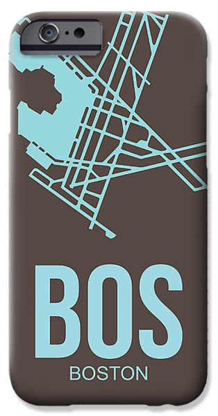 City. Boston iPhone Cases - BOS Boston Airport Poster 2 iPhone Case by Naxart Studio
