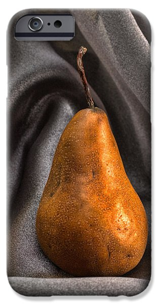 Pears Pyrography iPhone Cases - Bosc Pear iPhone Case by Jerry Hetrick