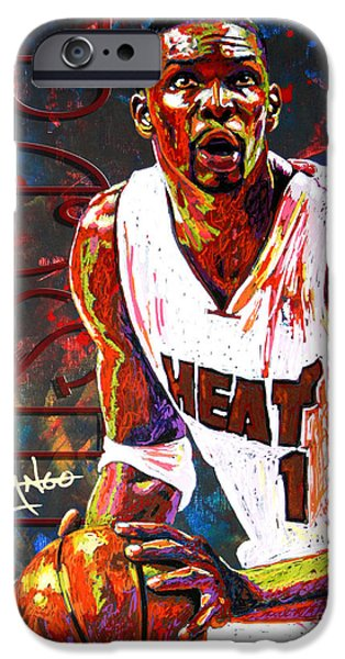 Miami Heat iPhone Cases - Bosh iPhone Case by Maria Arango