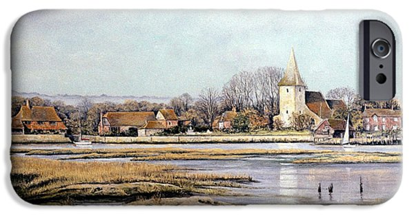 Village Pastels iPhone Cases - Bosham Harbour iPhone Case by Rosemary Colyer