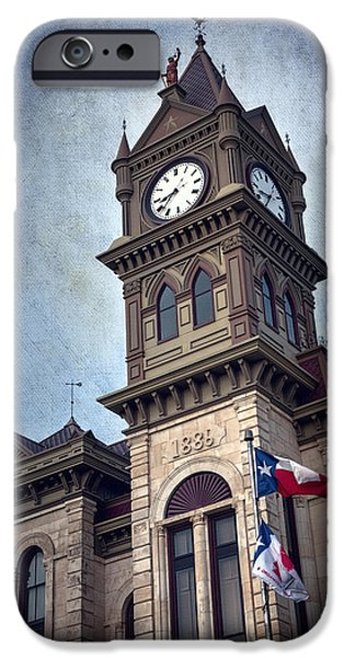 Flag iPhone Cases - Bosque County Courthouse iPhone Case by Joan Carroll