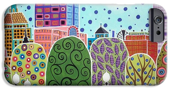 Boston Cityscape iPhone Cases - Boston Abstract iPhone Case by Karla Gerard