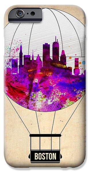 City. Boston iPhone Cases - Boston Air Balloon iPhone Case by Naxart Studio