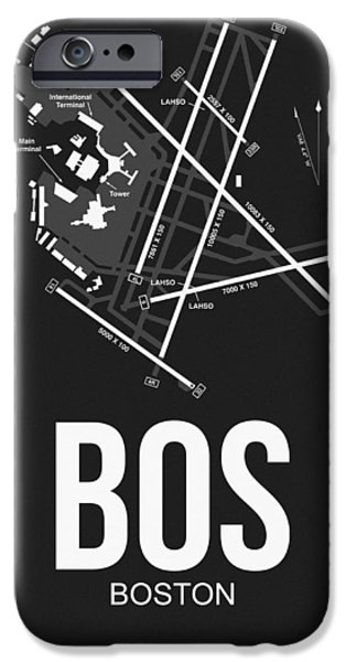 Towns Digital Art iPhone Cases - Boston Airport Poster 1 iPhone Case by Naxart Studio