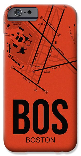 Towns Digital Art iPhone Cases - Boston Airport Poster 2 iPhone Case by Naxart Studio
