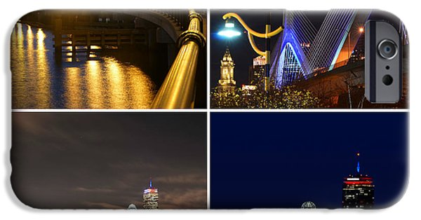 Oxford. Oxford Ma. Massachusetts iPhone Cases - Boston at Night Collage iPhone Case by Toby McGuire