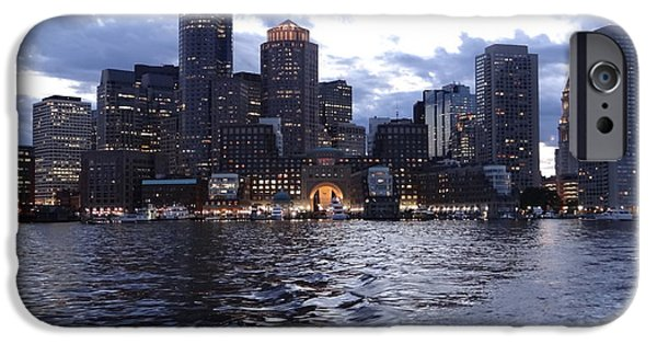 City. Boston Paintings iPhone Cases - Boston at Twilight Two iPhone Case by Laura Lee Zanghetti