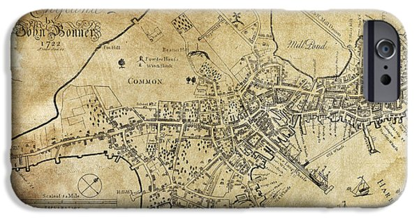 Map Of Boston iPhone Cases - Boston Bonner Map 1722 iPhone Case by Daniel Hagerman