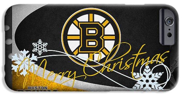 Boston iPhone Cases - Boston Bruins Christmas iPhone Case by Joe Hamilton
