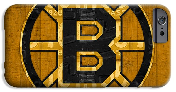 Boston iPhone Cases - Boston Bruins Hockey Team Retro Logo Vintage Recycled Massachusetts License Plate Art iPhone Case by Design Turnpike